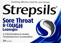 Strepsils sore throat & cough lozenges box