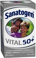 Sanatogen Vital 50+ multivitamin & mineral tablets box
