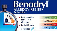 Benadryl Allergy Relief capsules containing acrivastine
